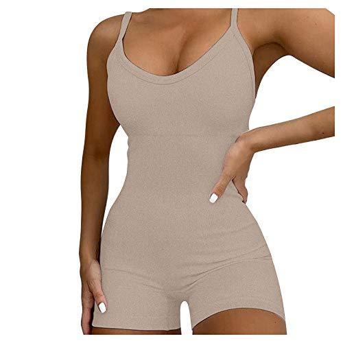AFFGEQA Damen Yoga Overall Sportshorts BHS Set Leggings Einfarbig Sportanzug Stretch Jogginghosen Atmungsaktiv Kurze Hose