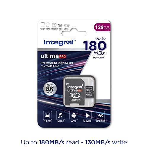 Speicherkarte 128 GB microSDxC UltimaPro, sehr hohe Geschwindigkeit bis zu 180 MB/s Lesen, 130 MB/s Schreiben, Klasse 10, V30, UHS1, U3, A2, SD-Adapter, by Integral Memory