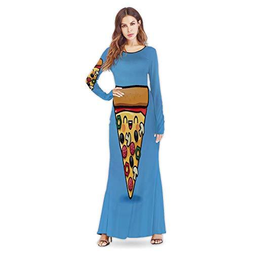 C COABALLA Cute Pizza Pizza,Woman Apparel Evening Dress Food L