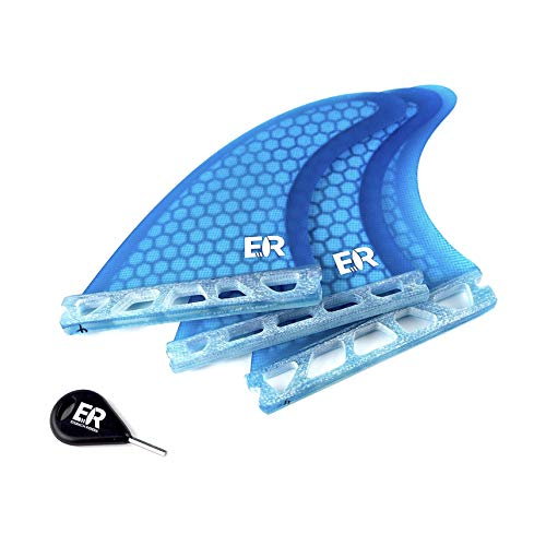 Eisbach Riders Surfboard Future Fiberglass Honeycomb Fin Thruster Set mit Fin Key (Größe Small/Medium/Large) - Finnen Flossen für Surfbrett und SUP (Blau, G5 - Medium)