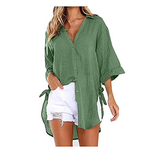 ReooLy Women Cotton linen midi dress Casual plus size Lace-up Button Lapel Loose Shirt Side Knotted Long Sleeve dress(B-Army Green,XXX-Large)