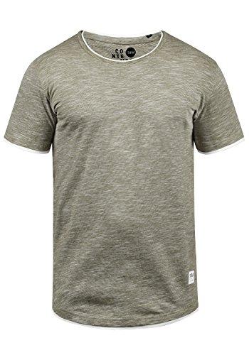 !Solid Rigos Herren T-Shirt Kurzarm Shirt Mit Rundhalsausschnitt Im Double-Layer-Look Aus 100% Baumwolle, Größe:M, Farbe:Dusty Oliv (3784)