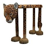 HuaLEiX Animal Leopard Shoes Bench von Leopard Point Shoes Bench/Massivholz handgeschnitzt 23.6x7.87x15.7inches