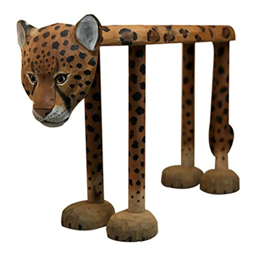 CZWYF Panca di Scarpe di Leopardo Animali intagliati a Mano in Legno massello da banco di Scarpe da Punto Leopardo / 23.6x7.87x15.7 Pollici