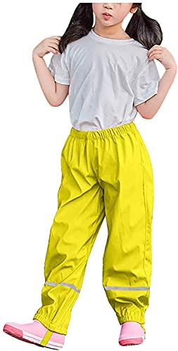 Willand Unisex Kinder Regenlatzhose, Kinder Regenhosen, Wind- und wasserdichte Matschhose Atmungsaktiv Verstellbaren Trägern Regenhose für Fahrrad Sport-Gelb