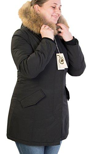 Antony Morale Giubbotto Parka Donna Invernale con Pelliccia Vera Volpe Removibile 4 Colori Disponibili Copia Wool ARTIK Parka 13105 (XL 48, Nero)