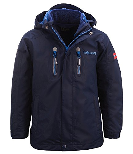 Trollkids Kinder 3in1 Jacke Lofoten, Marineblau / Französischblau, Größe 104
