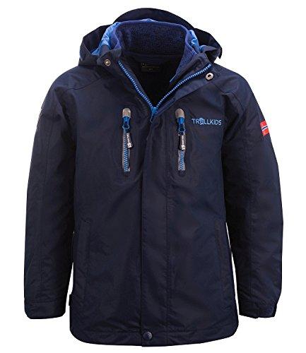 Trollkids Kinder 3in1 Jacke Lofoten, Marineblau/Französischblau, Größe 116