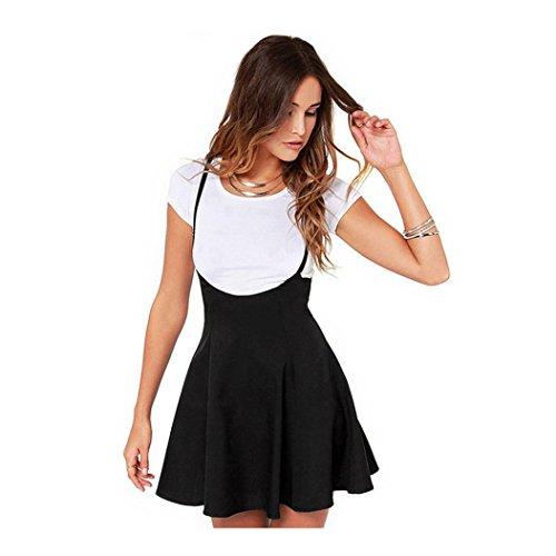 Overdose Falda Negra de Las Mujeres de Moda con Las Correas de Hombro Vestido Plisado Onda Viva Linda