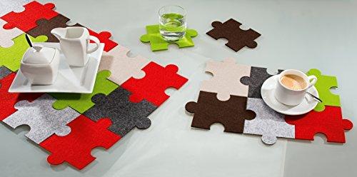 Vilten onderzetters puzzel, set van 6 c wasbaar, vilten onderzetters, Gilde Handwerk