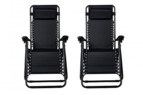 New Zero Gravity Chairs Case Of 2 Lounge Patio Chairs Outdoor Yard Beach O62Black
