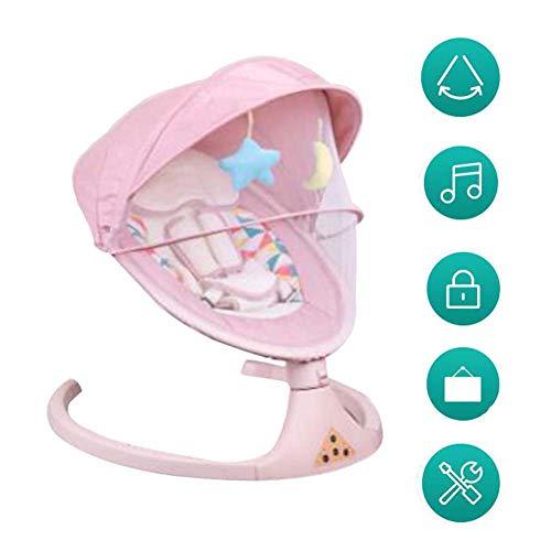 FCDWHJ Babywippe Schaukelfunktion,Verstellbarer Rückenlehne, Sicherheitsgurt, per App bedienbar, mit Musik,für zuhause und unterwegs,Rosa