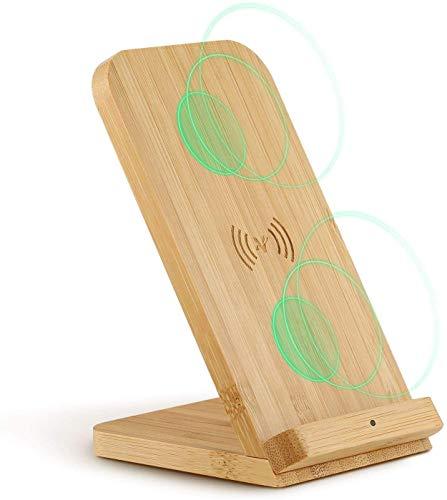 Veelink Kabelloses Ladegerät mit Bambus, Qi-Ladestation für iPhone 11/XR/XS Max/XS/X/SE 2020, 10 W Schnellladung für Samsung Galaxy S20/S10/Note10/S9/S9+/S8+/Note 9