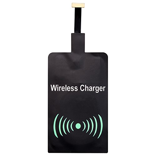 Qianyou Wireless Ladegerät Empfänger Android, Universal QI Wireless Ladegerät Charger Receiver Wireless Empfänger für Samsung Galaxy S8/S7/S5/J5,Sony, LG und anderes Android-Handy,Micro USB (Schwarz)