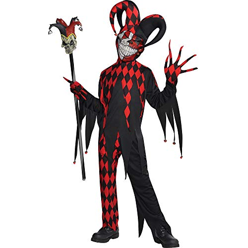 Amscan Krazed Jester Halloween Costume for Boys, Extra Large, with Included Accessories,Black/Red,X-Large