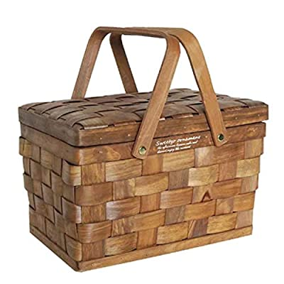 YIZAN Portable Wooden Storage Box Wicker Makeup Storage Box Family Camping Picnic Storage Basket
