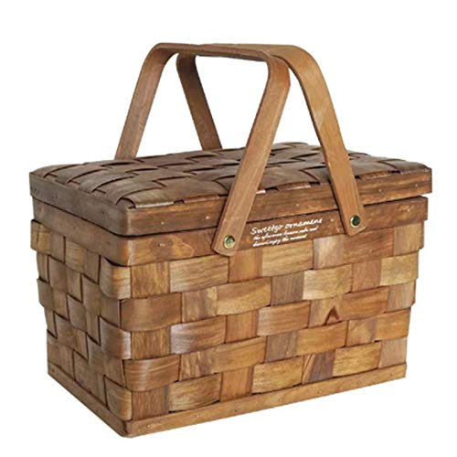 Kirmax Caja de Almacenamiento de Madera PortáTil Caja de Almacenamiento de Maquillaje de Mimbre Familia Camping Picnic Storage Basket