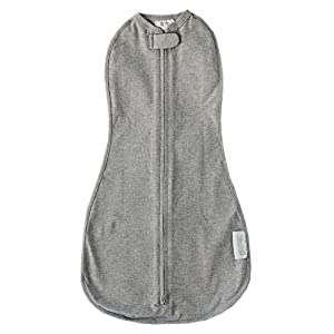 The Original Woombie Baby Swaddling Blanket I Soothing, Cotton Baby Swaddle I Wearable Baby Blanket, Twilight Heathered Grey, 5-13 lbs