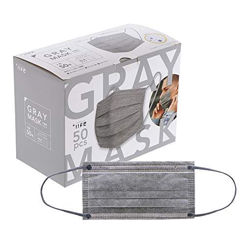 プラスライフ 不織布マスク ふつうサイズ 使い捨て プリーツ型マスク 個包装 50枚入り 灰 グレー 五層構造 平ゴム 紐グレー カラーマスク