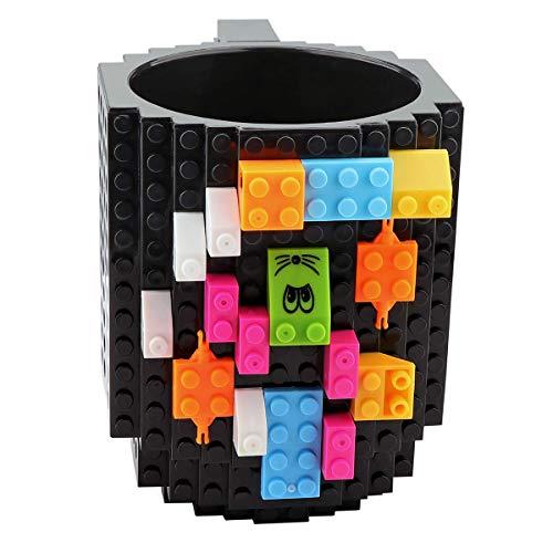 Build on Brick Mug DIY Coffee Mug Tea Cup Carton Building Blocks Toys Unique Birthday or Christmas Gift for Children and Adults (1 Pack Bricks)