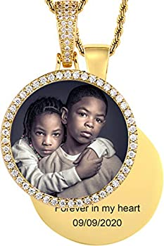 TUHE Hip Hop Jewelry Custom Picture Necklace Personalized 18K Gold Plated Iced Out Round Pendant Photo Necklace for Men Women Memory Chain Necklace Customized with Text Engraving & Picture Necklaces