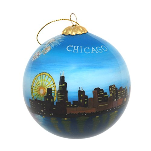 Hand Painted Glass Christmas Ornament - Chicago, Illinois Skyline with Fireworks