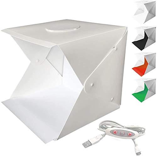 WANBY Foto Studio Zelt Mini Faltbares Fotostudio Tragbares Lichtbox Kit mit LED Lichtzelt Einstellbare Helligkeit 2 LED Leuchten und 4 Stück Farb...