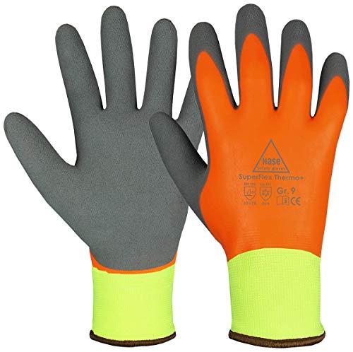 Hase 1 Paar Superflex Thermo+ Winter-Arbeitshandschuhe - Kälte-Schutzhandschuhe - EN 388/420/511 - Orange/Grau - 10/XL