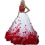 Nanger Abito da donna linea A Principessa 2 pezzi abito da sposa rosso pizzo tulle abito da sposa bianco 32
