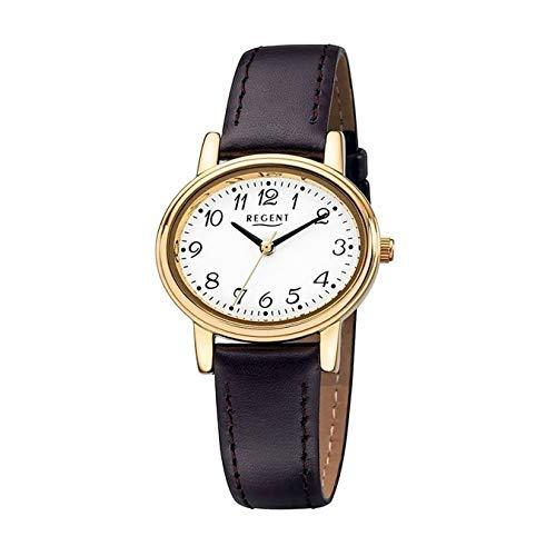 REGENT 77984519 Damen-Armbanduhr, Lederarmband, Braun