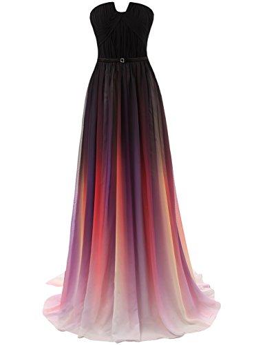 Abendkleider Ballkleider Lang Hochzeitskleider Partykleid Cocktailkleider Chiffon A Linie Brautkleid Rot-3 EUR42