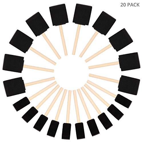 Kurtzy Pennelli Gommapiuma (Set da 20) - Due Dimensioni - Set Pennelli Pittura in Spugna con Manico in Legno - Tampone Pittura per Acrilici, Oli e Acquerelli - Pennelli Spugna Pittura Bambini e Adulti