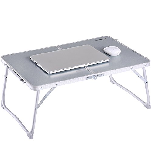 Foldable Laptop Table | Superjare Bed Desk | Breakfast Serving Bed Tray | Portable Mini Picnic Table & Ultra Lightweight | Folds in Half w' Inner Storage Space - Silver