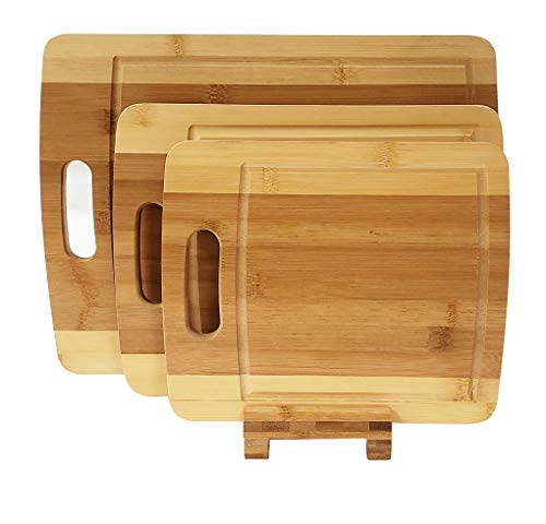 Adorn Home Essentials 4 pc. Bamboo kitchen cutting board set with 3 (small, medium & larger) chopping blocks with a holder | Carving, butcher, food prep, chopping |All-natural Bamboo, Eco-friendly