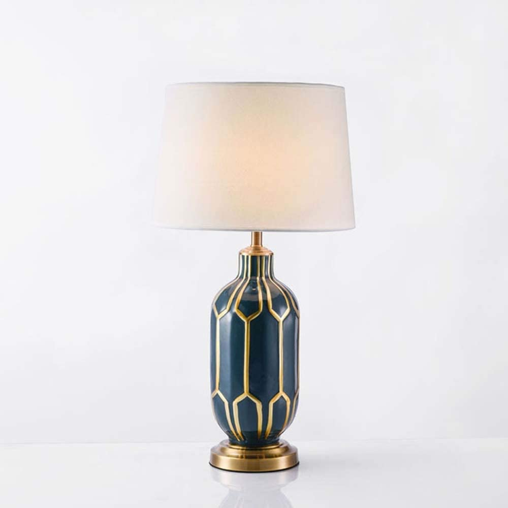 Reegang LED Washington Gorgeous Mall Copper Bottom Blue Hand-Painted Cer Edge Fabric Gold