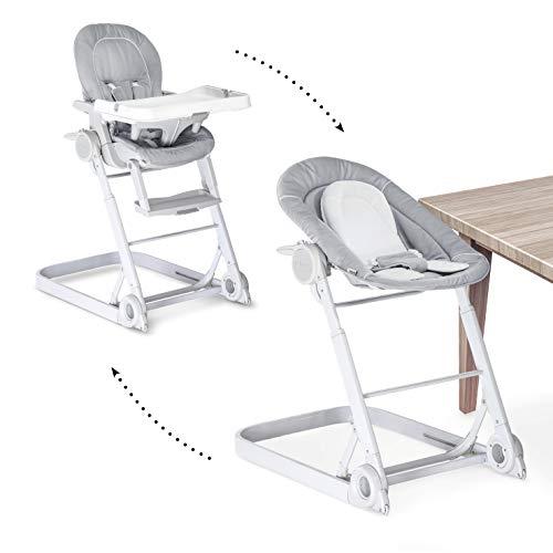 Hauck Sit'n Care 2 in 1 Newborn Set – Neugeborenen Aufsatz und Kinderhochstuhl ab Geburt/inkl. Sitzverkleinerer, Tisch, Rollen/höhenverstellbar, mitwachsend, klappbar – stretch grey (grau)