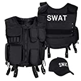 Black Snake SWAT FBI Security Police Agenten Kostm Einsatzweste und Baseball Cap - M/L - SWAT