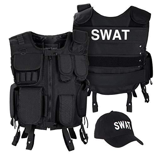 Black Snake SWAT FBI Security Police Agenten Kostüm Einsatzweste und Baseball Cap - M/L - SWAT
