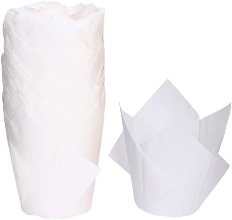 AKOAK 100 Pcs Pure Color Tulip Paper Greaseproof Cup National uniform Dealing full price reduction free shipping High
