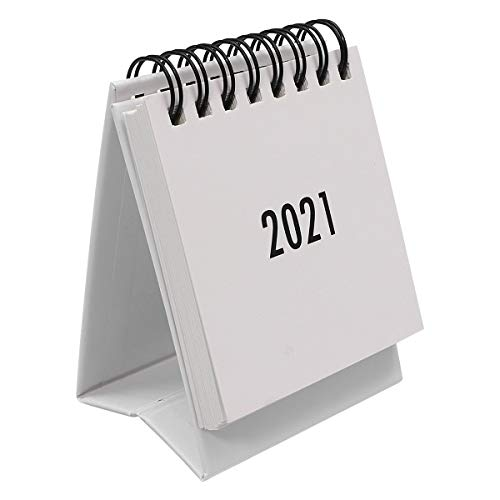 Toyvian 2021 Mini Calendar Standing Desk Coil Calendar Desk Stand Up Calendar (Jul 2020-Dec 2021, White)