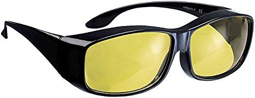 PEARL Nachtfahrbrille: Überzieh-Nachtsichtbrille Night Vision für Brillenträger (Nachtsichtbrille mit Sehstärke)