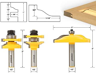 Yonico 12335 Ogee 3 Bit Raised Panel Cabinet Door Router Bit Set 1/2-Inch Shank