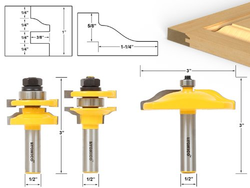 Yonico 12335 Raised Panel Cabinet Door Router Bit Set with 3 Bit Ogee 1/2-Inch Shank