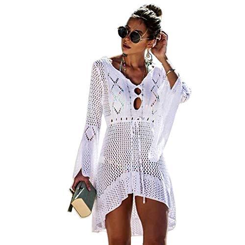 Centeraly Damen Häkel-Badeanzug, Sonnenschutz, Bikini, Bademode, Strick, Strand, Badeanzug, Bandage Gr. One size, weiß