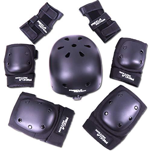 Mega Motion Einstellbare Sport Schutzausrüstung Schutz für die Sicherheitsabdeckung festlegen für Roller Fahrrad BMX Bike Skateboard Roller und andere Extremsportarten (Schwarz, S)