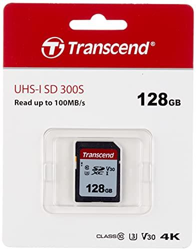 Transcend Highspeed 128GB SDXC Speicherkarte (für Digitalkameras / Photo Box / alltägliche Aufnahmen & Videos / Autoradio) Class 10, UHS-I U3, Video Speed Class V30 für 4K Ultra HD TS128GSDC300S