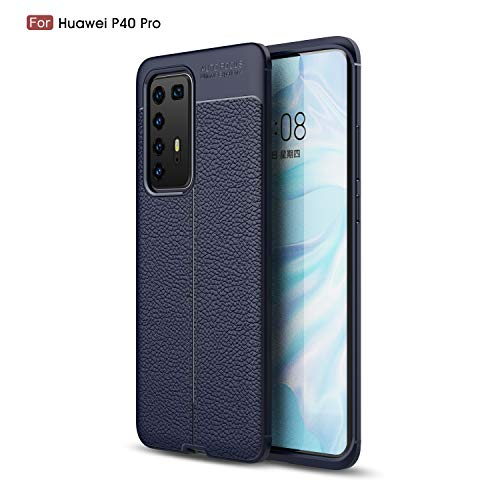 Huawei P40 Pro Case Silicone Leather[Slim Thin] Flexible TPU Protective Case Shock Absorption Carbon Fiber Cover for Huawei P40 Pro Case (Navy)