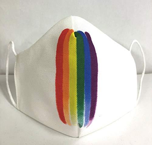 Mascarilla reutilizable arcoiris blanca lgtbi orgullo gay original...