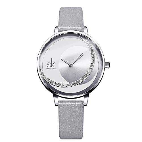SHENGKE Frauen Uhren Lederband Quarz Uhren Kleid Mädchen Damen Armbanduhr