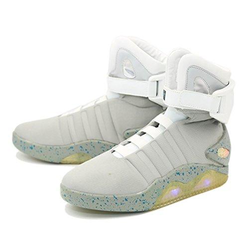 Zapatos Deportivo Back to The Future Marty McFly Volver al futuro Shoe&Suela de Goma LED con cargador USB de Plataforma Blancos Tacón Bajo Zapatillas Unisex para Adultos(39-46)
